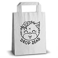 Бумажный пакет с логотипом из белого крафта 320х220х80