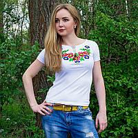 Вышитая женская футболка Мальвы белая, фото 1