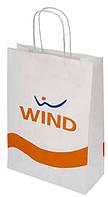 Бумажный пакет с логотипом из белого крафта 370х250х80