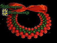 """Намисто """"Кольє"""" (1 рядок червоний, 2 - зелені, 2 - червоні)"""