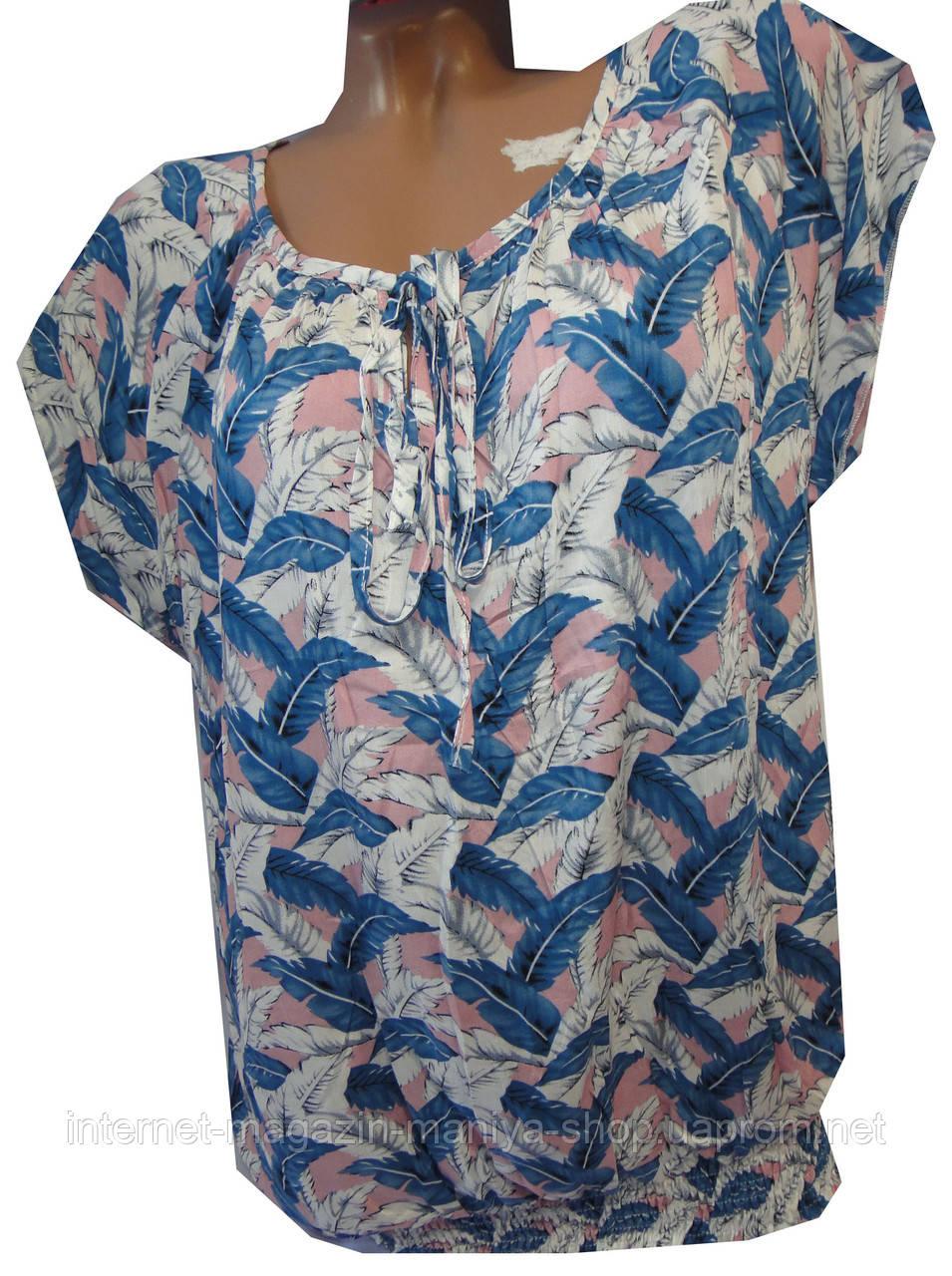 Блузка женская 6022 листочки полу батал (лето)