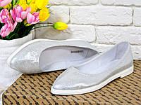 Туфли балетки из натуральной кожи в цвете серебро