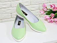 Туфли балетки из натуральной кожи мятного цвета на белой подошве