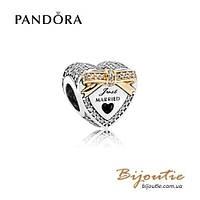 Pandora Шарм СВАДЕБНОЕ СЕРДЦЕ #792083CZ серебро 925 золото 14к  Пандора оригинал