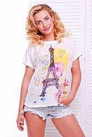 Женская летняя футболка Air башня акварель молоко