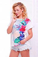 Женская летняя футболка Air гавайские цветы молоко