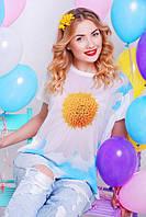 Женская летняя футболка Air ромашка молоко