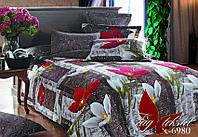 Натуральное постельное белье комплект 1,5 Большие цветы