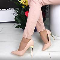 Туфли-лодочки Pink Пудра эко-замш с металлической вставкой на каблуке, туфли пудра Венгрия Новинка 2017