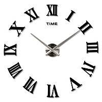 Большие часы на стену Римские Черные