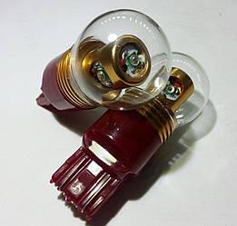 Светодиодная автолампа 7443 W21/5W (T20), 20W RED (380Lm) (CREE LED)  двухконтактная красная