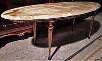 Шикарный, овальный журнальный столик из оникса и латуни (вторая половина XX века)