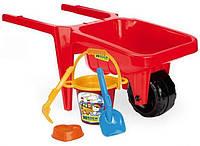 Детская тележка Гигант с набором для песка красная (74810-2)