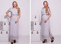 Летнее платье длинное льняное, 48-54 размер