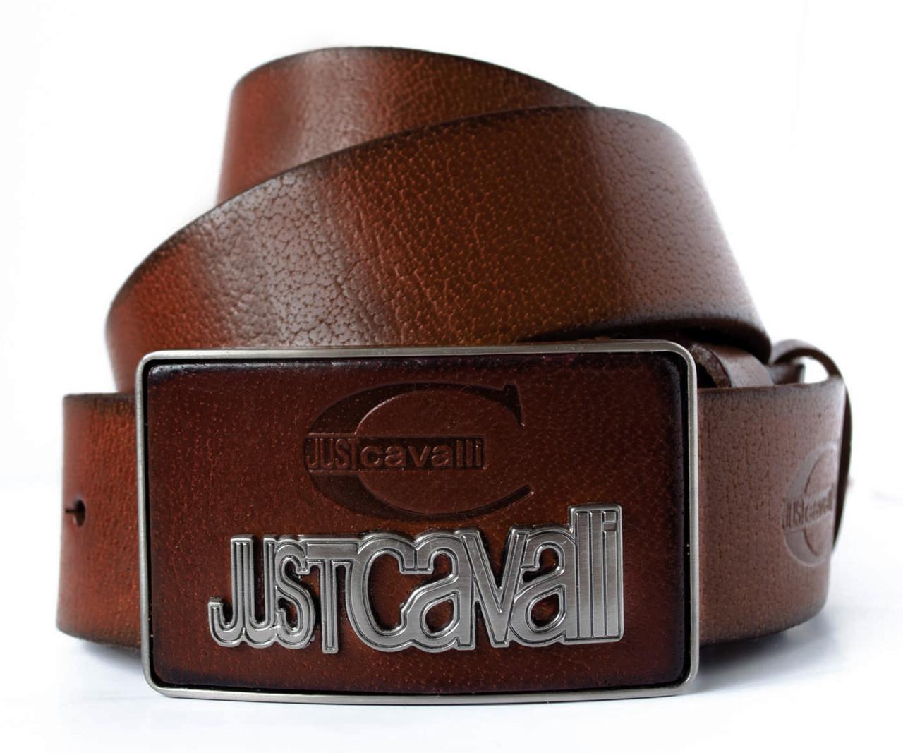 Темно коричневый джинсовый мужской ремень из кожи со стильной пряжкой в стиле Just Cavalli