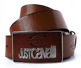 Темно коричневий джинсовий чоловічий ремінь зі шкіри зі стильною пряжкою в стилі Just Cavalli