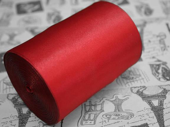 Лента атласная темно- красная (ширина 10см, намотка 20м), фото 2