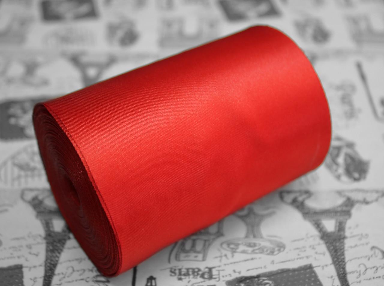 Лента атласная красная (ширина 10см, намотка 20м)