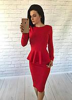Костюм кофта-баска(длинный рукав)+юбка-карандаш материал кукуруза красный