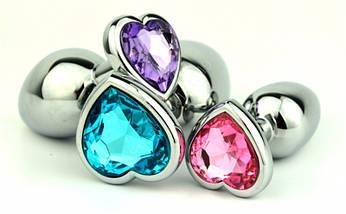 Анальная пробка серебрянная сердечком Swarovski Big Love Crystal большая, фото 3