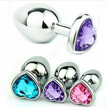 Анальная пробка серебрянная сердечком Swarovski Big Love Crystal большая, фото 2