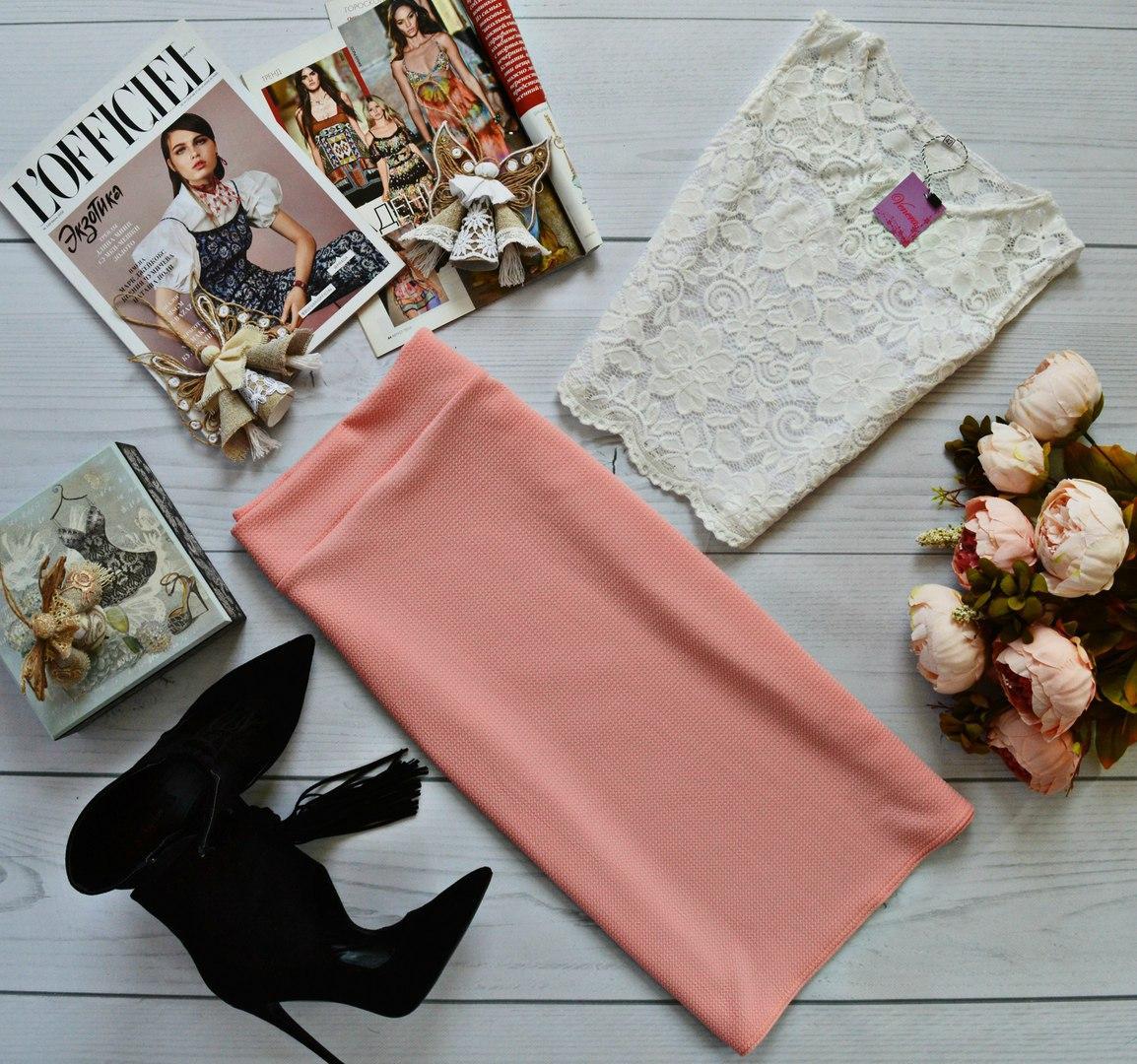 Женский костюм: топ без рукавов с набивного гипюра молоко + юбка миди кукуруза персик