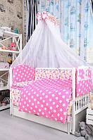 """Комплект Дитячої постільної білизни """"Жирафи з зірочками на розовому"""" ПЛ038"""