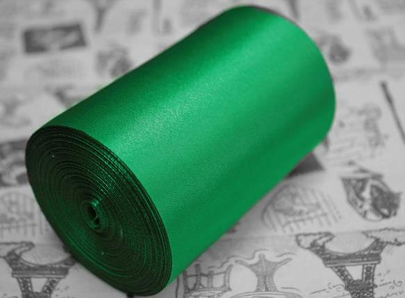 Лента атласная зеленая (ширина 10см, намотка 20м), фото 2