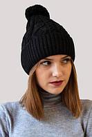 Черная зимняя шапка с помпоном