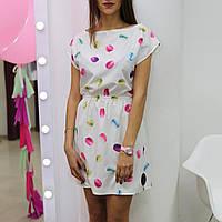 Платье белое с рисунком губки