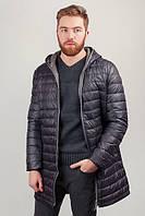 Куртка (пуховик) мужская с капюшоном №225KF091 (Серо-черный)