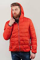 Пуховик теплый мужской, с капюшоном 320K001 (Оранжевый)
