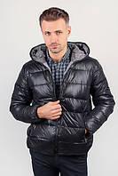 Куртка мужская теплая на синтепоне, с капюшоном №249KF001 (Черный)