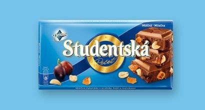 Молочный шоколад Studentska с арахисом, желе и изюмом, 180 гр.