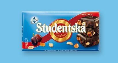 Черный шоколад Studentska с арахисом, желе и изюмом, 180 гр.