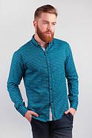 Рубашка мужская в клетку, длинный рукав №227F018 (Черно-голубой)
