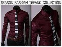 Рубашка мужская бордо с длинными рукавами