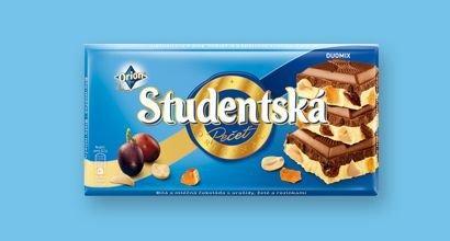 Бело - молочный шоколад Studentska Duomix с арахисом, желе и изюмом, 180 гр.