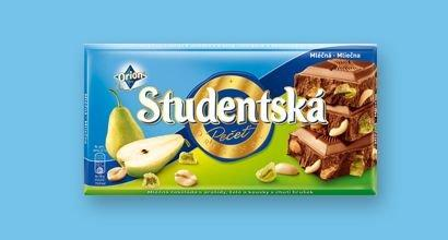 Молочный шоколад Studentska с арахисом, желе и кусочками груши, 180 гр.