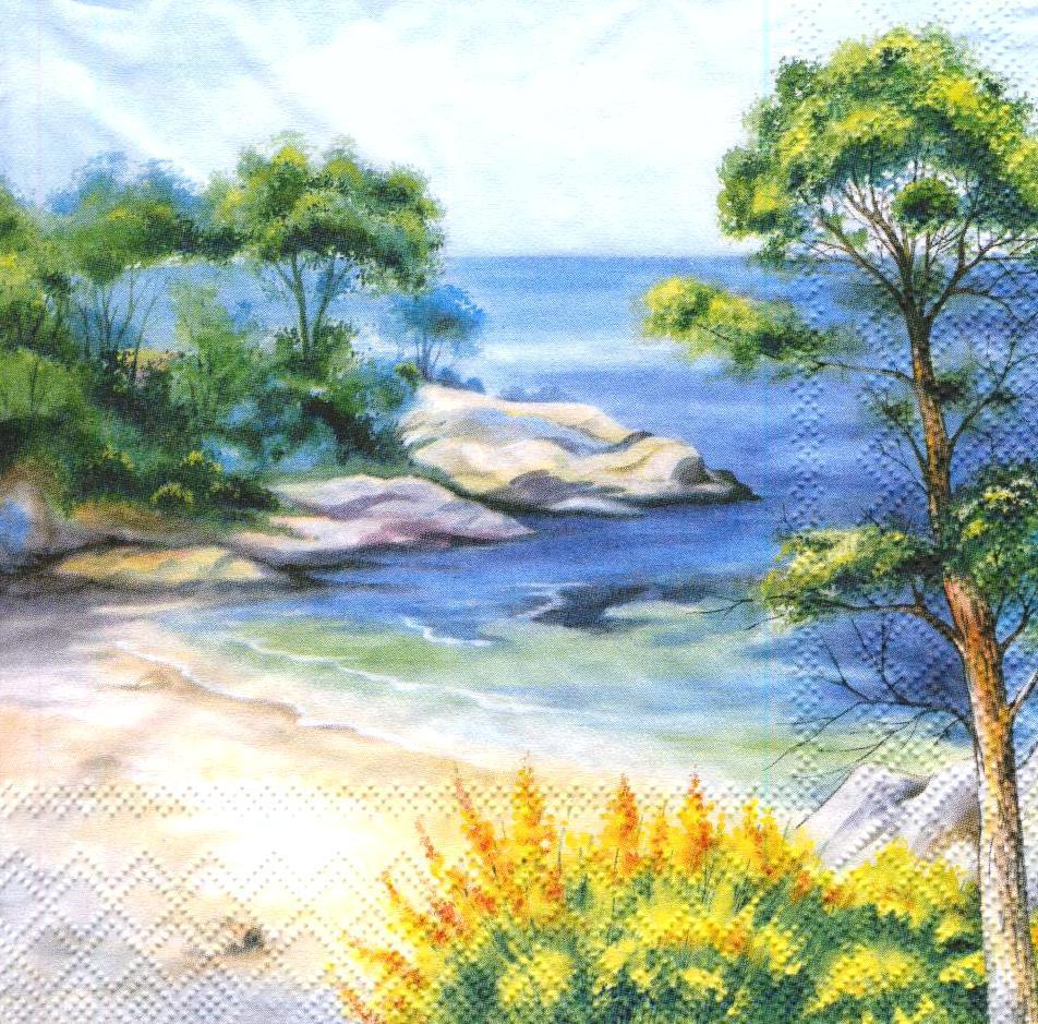 Салфетка декупажная Морской пейзаж 6996