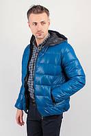 Куртка мужская теплая на синтепоне, с капюшоном №249KF001 (Лазурно-бирюзовый)