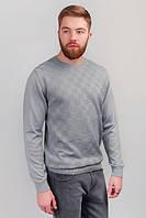 Свитер тонкий мужской, джемпер трикотажный №82F015 (Светло-серый) Размер XXХХL