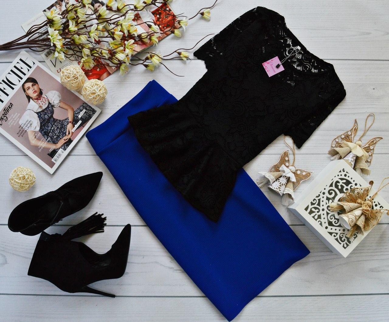 Женский костюм: кофта-баска с набивного гипюра черный + юбка миди кукуруза синий