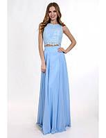 Вечернее платье в виде топа из гипюра и длинной шифоновой юбки