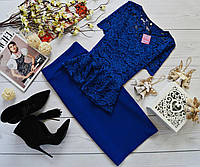 Женский костюм: кофта-баска с набивного гипюра синий + юбка миди кукуруза синий