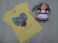 """Летняя детская футболка """"Miss"""" для девочки желтая р.3-6 лет"""