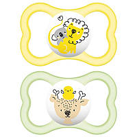 MAM AIR 6+ ANIMAL 6-16 MONATE - Пустышка силиконовая, 6-18 месяцев, 2 штуки