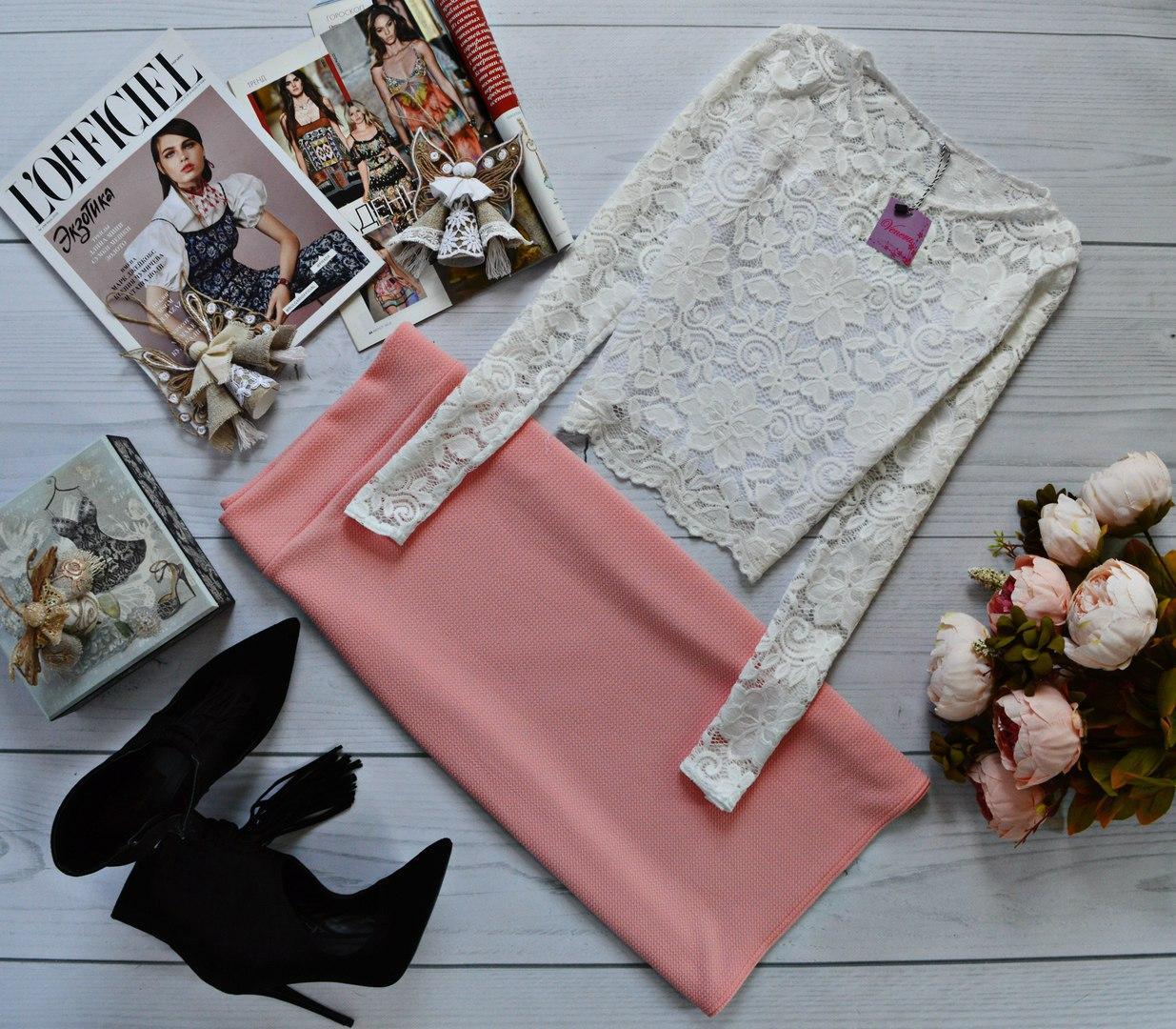 Женский костюм: кофта с длинными рукавами с набивного гипюра молоко + юбка миди кукуруза персик