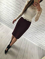 Женский костюм: кофта с длинными рукавами с набивного гипюра молоко + юбка миди кукуруза бордо