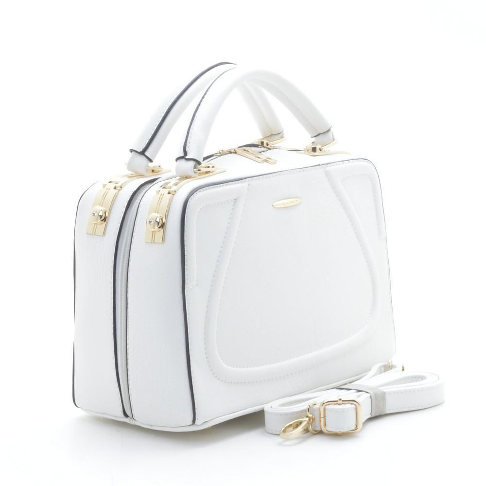 Белая женская сумка саквояж каркасная c9814678849c1